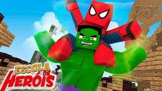 Minecraft: HOMEM ARANHA AMIGO DO HULK !! #19 ( ESCOLA DE HEROIS 2 )