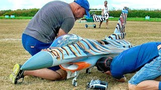 STUNNING HUGE RC F-16 SCALE MODEL TURBINE JET FLIGHT DEMONSTRATION
