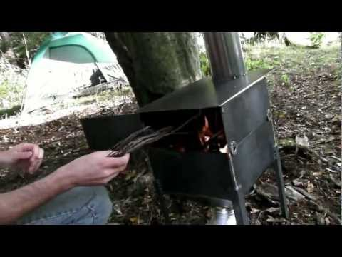 Camping with homemade forced air wood burning stove