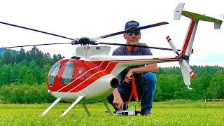 STUNNING GIANT RC HUGHES-500 SCALE MODEL TURBINE HELICOPTER FUN SCALE FLIGHT DEMONSTRATION