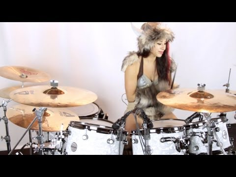 Thumbnail of video Viking girl drummer plays Mastodon