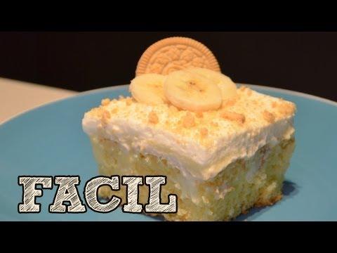 Pastel de pudín de banana FACIL   Banana pudding poke cake   Como hacer un pastel   Recetas fáciles