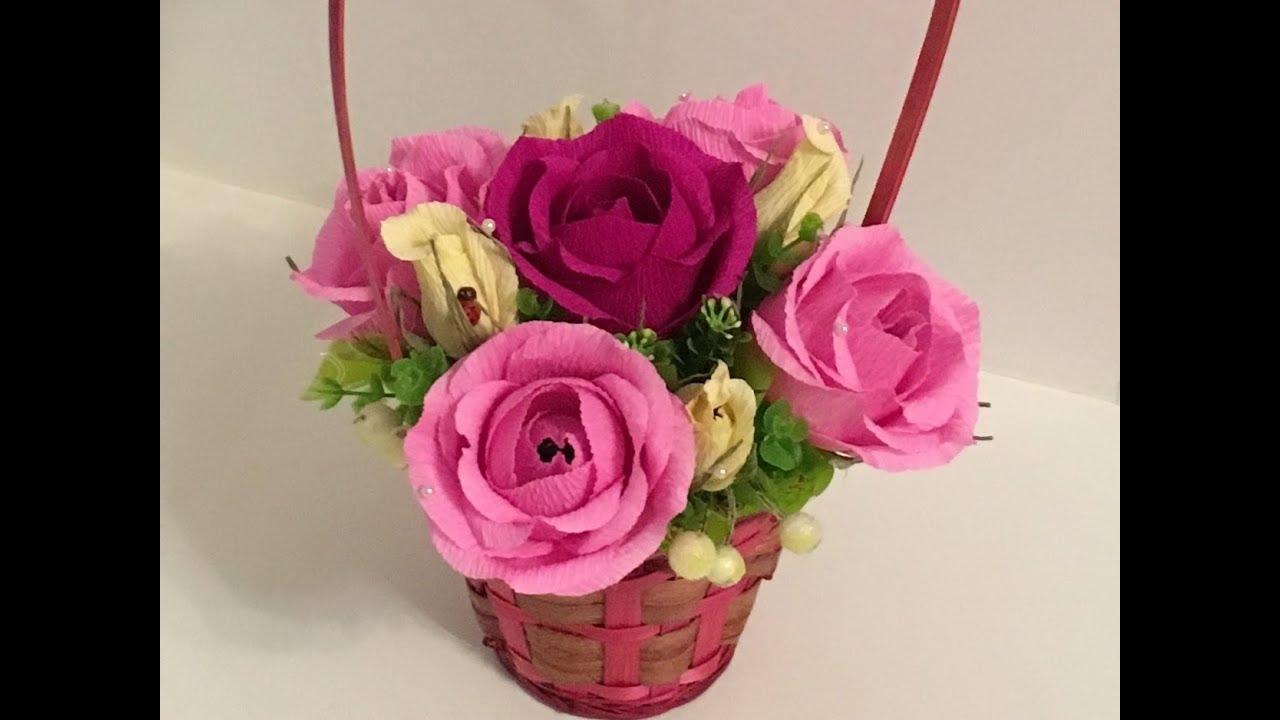 Фото цветы в корзине из гофрированной бумаги своими руками 27