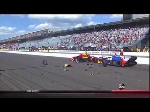 2014 Indycar GP of Indy Standing start huge crash Saavedra Munoz Aleshin Crash