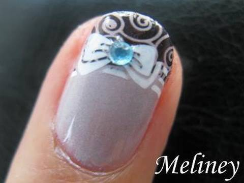 Konad Stamping Nail Art - Princess Bow Nails Pretty French Tip Manicure Design for Short nails