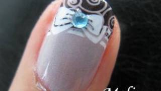 Konad French Tip Stamping Nail Art - Princess Bow Nails Pretty Manicure Design for Short nails