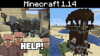 Minecraft 1.14 - Pillager Outpost, Village Raids, Bad Omen Effect