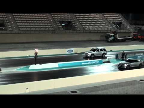 NISSAN GTR VS JEEP SRT8 Vortech Supercharged Yas Island Drag