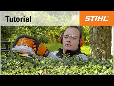 Petrol hedge trimmer cutting technique: horizontal cutting with the STIHL HS 56 C-E