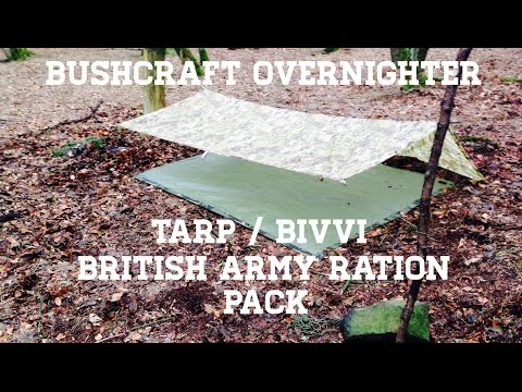 Bushcraft Overnighter in the woods - British Army Ration Pack