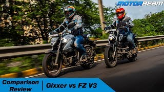 Suzuki Gixxer vs Yamaha FZ V3 - Best 150cc Commuter Bike? | MotorBeam