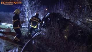 28.01.2017: Stockbetrunkener baut spektakulären Crash in Rostock und stürzt fast Abhang hinab
