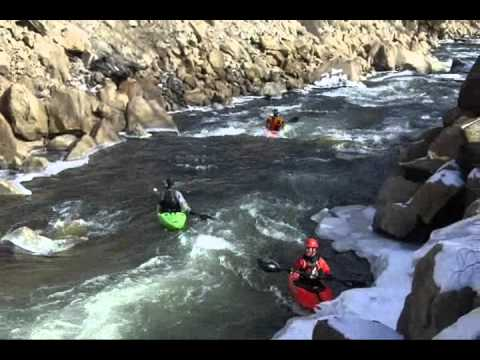 Winter whitewater kayaking