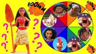 Moana Toys Spin the Wheel Game w Moana, Baby Moana, Maui, Pua, Lava Monster & Tamatoa Disney Dolls!