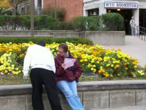 Evangelism on college campuses with open air preaching and gospel tracts