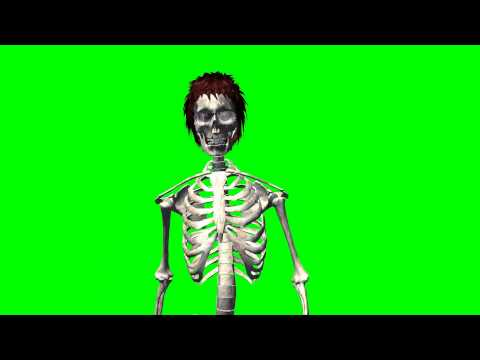 skeleton with hair and sunglasses walk 1 - free green screen thumbnail