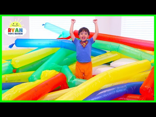 Blowing Giant Windbag Science Experiment for kids to do at home with Ryan ToysReview