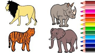 Wild Animal Coloring Pages || Names and Colors || Drawing and Coloring Animals