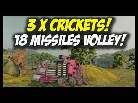 ► Crossout - 3 x Cricket Launchers - 18 Missiles Volley! - Triple Cricket 17M Missile Launcher Build