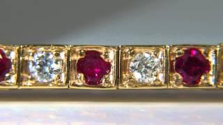 3.80CT NATURAL GEM RUBY DIAMOND TENNIS BRACELET BEAD SET BOXES 14KT