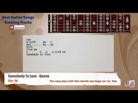Somebody To Love - Queen Guitar Backing Track with scale, chords and lyrics