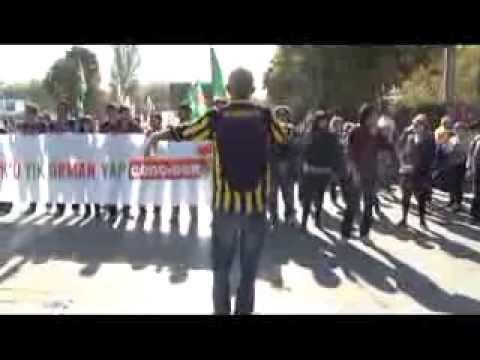 Odtü'lü eylemcileri 'tiye' alan ankaragücülü taraftar, orkestra