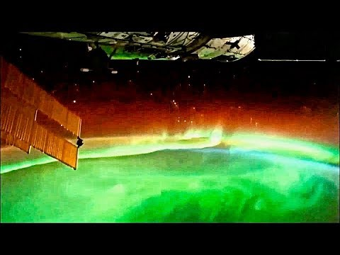 Earth and Aurora Borealis Filmed from International Space Station