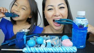 BLUE CANDY Party Cable Mukbang | N.E Let's Eat