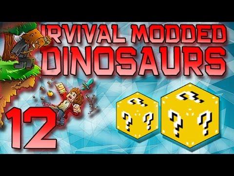Minecraft: Modded Dinosaur Survival Let's Play w/Mitch! Ep. 12 - Lucky Block Mayhem!
