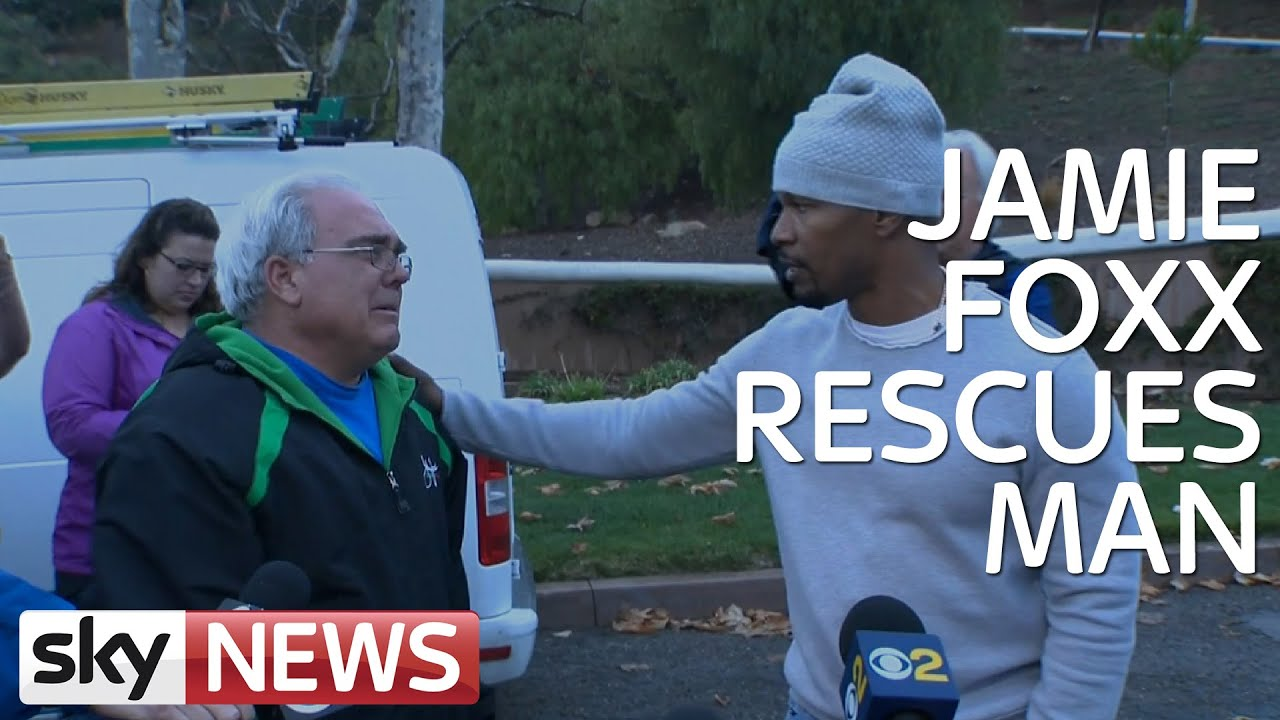 [Jamie Foxx Saves Man From Burning Car: Hear His Story] Video