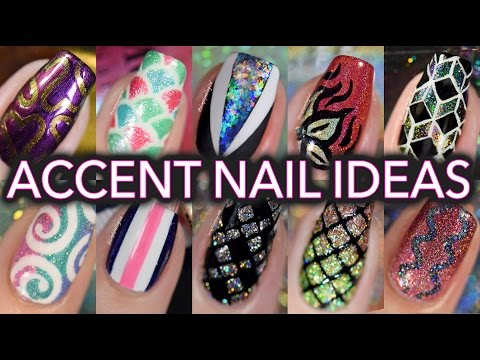 Easy accent nail art tutorials - compilation!