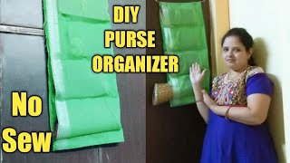 NO SEW DIY : DIY Hanging Purse Organizer / How To Make Clutches, Wallets Organizer MadefromOldCloth