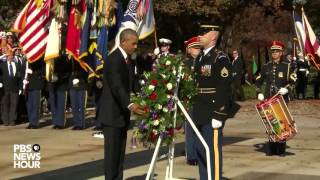 Watch President Obama lay a wreath at Tomb of the Unknown Soldier in Veterans Day ceremony