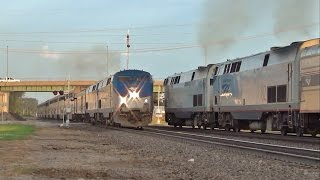 Eastbound & Westbound Amtrak California Zephyrs Meet in Ottumwa, IA 6/23/15