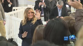 First Lady Melania Trump visits Joint Base Langley-Eustis