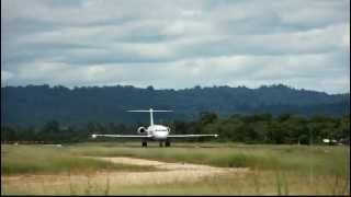 Pelita Air Service PK-PFZ Fokker 100 takeoff from Domine Eduard Osok Airport in Sorong