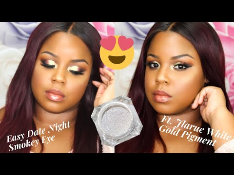 Date Night Smokey Eye Makeup   Ft. JLarue Cosmetics White Gold Pigment  Beginner Friendly   Aja Love