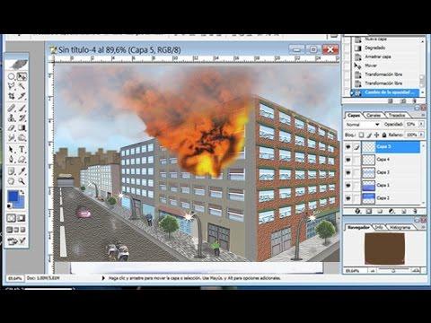 Montaje Edificio en llamas con Photoshop
