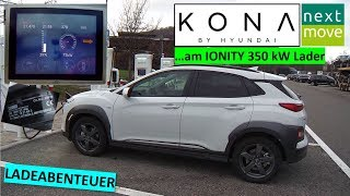 Hyundai KONA 64kWh: von 10% auf 80% aufladen an IONITY 350 kW in Gruibingen