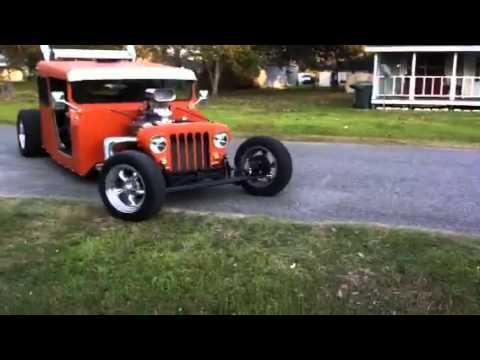 Orange Postal Jeep Rat Rod Burnout Youtube