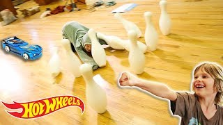 HOT WHEELS CARS GiANT BOWLING CHALLENGE?!!