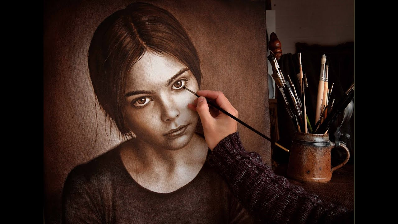 Drawing Lines With Oil Paint : Speed drawing painting how to draw a face gemalt nach foto