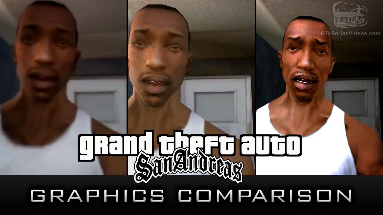 gta san andreas graphics comparison xbox 360 pc amp ps2