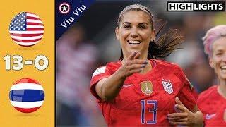 USA vs Thailand 13-0 All Goals & Highlights | 2019 WWC