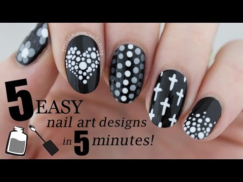 FIVE IN FIVE | Easy Black & White Nail Art Designs | Nailed It NZ - YouTube