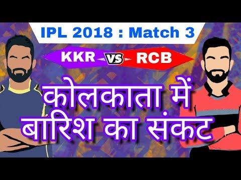 IPL 2018 : KKR Vs RCB | Rain & Weather Prediction | Match 03