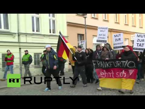 Germany: Anti-asylum seeker march in Frankfurt