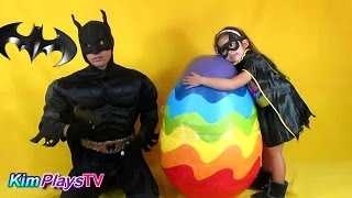 Mega Giant Rainbow Surprise Egg opened by Batman and Bat Girl Eng Dub