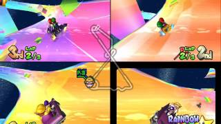 Mario Kart Double Dash!!: Rainbow Road 3 player Netplay race 60fps