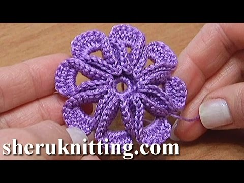 Crochet Tutorial Youtube : Crochet 8-petal 3D Flower Tutorial 5 - YouTube